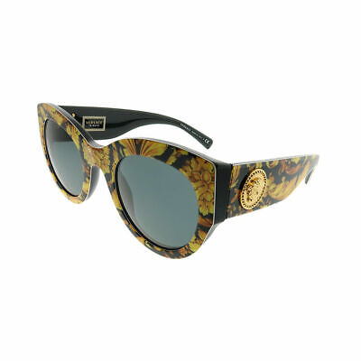 Versace VE 4353 528387 Baroque Yellow Black Plastic Cat-Eye Sunglasses Grey (Versace Yellow Sunglasses)