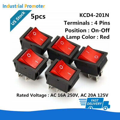 5pcs Red Light Kcd4 Dpst 2 Position Onoff 4-pin Rocker Switch 16a 250v 20a 125v