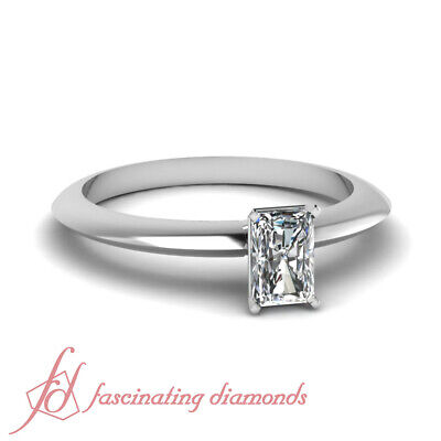 .50 Ct Radiant Cut VS1-H Color Diamond Knife Edge Solitaire Engagement Ring GIA