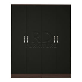 Hampton 4 door wardrobe walnut and black