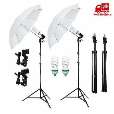 "2x33"" Photo Video Studio White Umbrella Reflector Photography Stand Lighting Kit"