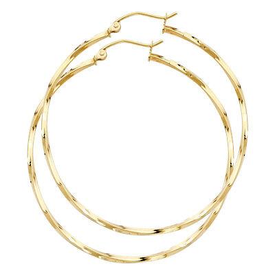 Real 14K Yellow Gold Diamond Cut Plain Twisted Hoop Earrings 1.5 MM - 14k Gold Twisted Hoop Earrings
