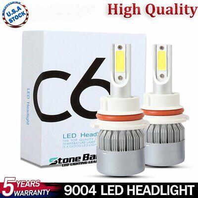 2x 9004 HB1 Car LED Headlight Conversion Kit High Low Beam 100W White 6000K Bulb