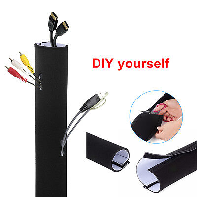 (Cable Management Organizer Neoprene Cable Cord Wire Cover Hider Sleeves PC TV)