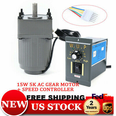 15w Ac110v Gear Motor Electric Motor With Variable Speed Controller 110 125rpm