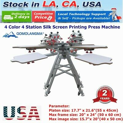 4 Color 4 Station Silk Screen Printing Press Machine With Micro Registration Usa