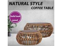 Coffee Tables 2 pcs Natural Rattan-283082
