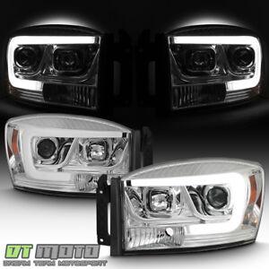 2006-2008 Dodge Ram 1500 2500 3500 Truck LED Tube Projector Headlights Headlamps