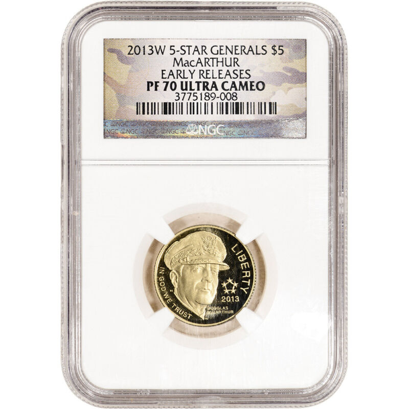 2013-W US Gold $5 5-Star Generals Commemorative Proof NGC PF70 Early Releases