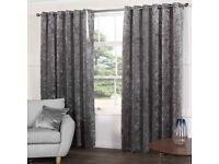 2 x sets Grey Crushed Velvet Curtains
