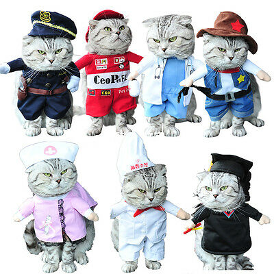 Pet Small Dog Cat Pirate Costume Outfit Jumpsuit Clothes For Halloween Christmas (Cat Costumes Halloween)