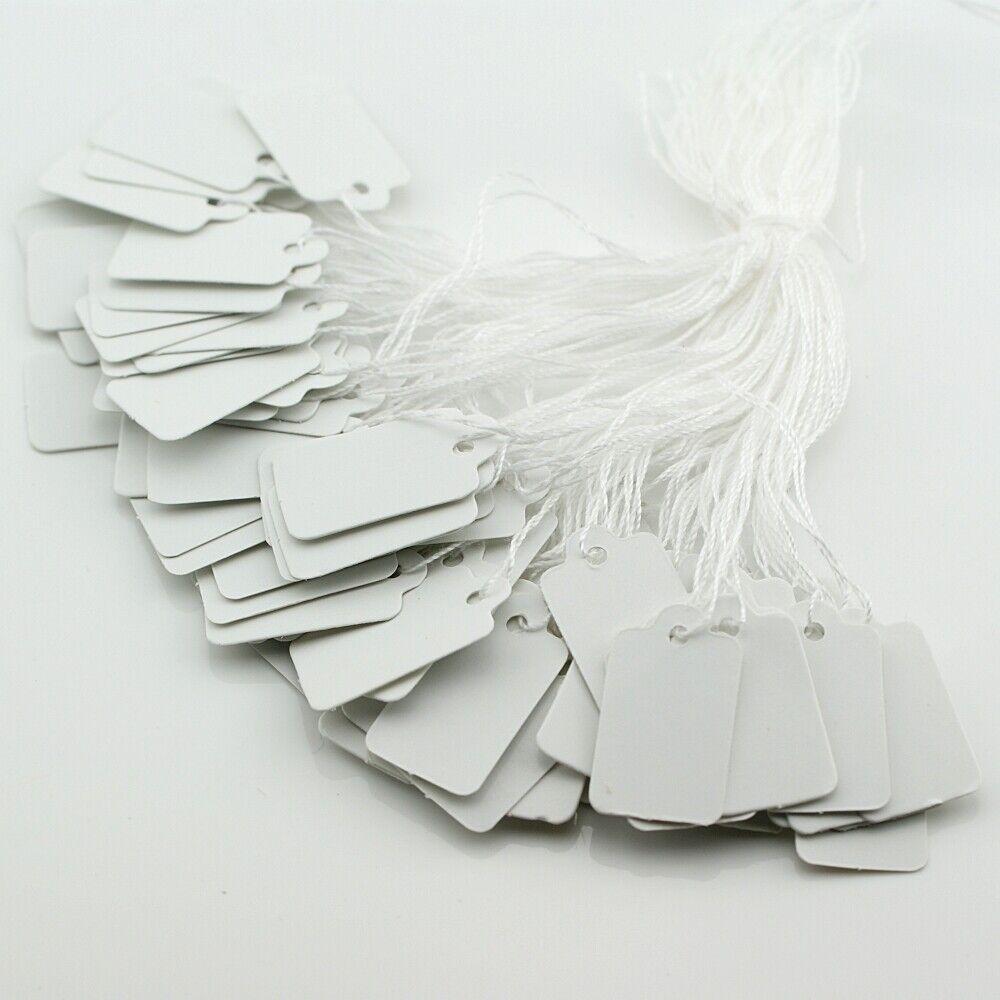 100 Preisschilder Etiketten 23x13mm Hängeschild Preisetiketten mit Faden - 1084