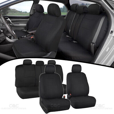 Car Seat Covers for Auto Solid Black 5 Head Rest Split Bench (Solid Bench Seat Covers)