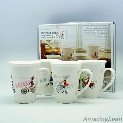Bicycle Rabbit Eco Green Mug 4 pcs, Korean Mugs, Cute Mug Cup