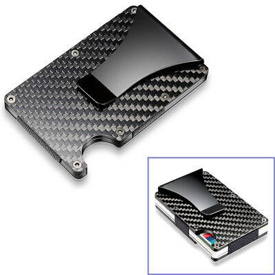 Black Carbon Fiber Slim Bank Debit Card Holder Money Clip Business Wallet Purse