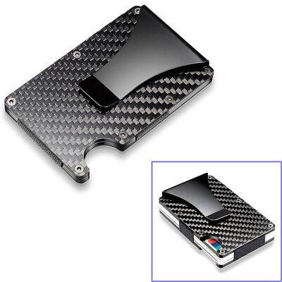 Black Carbon Fiber Slim Bank Debit Card Holder Money Clip Bu