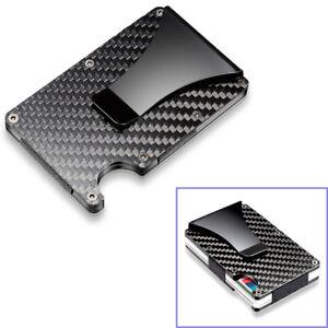 60585e2d1a6 Black Carbon Fiber Slim Bank Debit Card Holder Money Clip Business Wallet  Purse