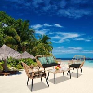 4 PCS Wicker Rattan Furniture Patio Set Chair Sofa Table Sets Garden w/ Cushion