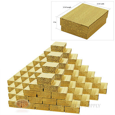 """100 Gold Foil Cotton Filled Jewelry Gift Boxes  3 1/4"""" X 2 1/4"""" X 1"""" Bracelet"""