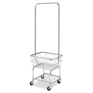 Commercial Laundry Cart Rolling On Wheels With Hanging Rack Utility Heavy Duty