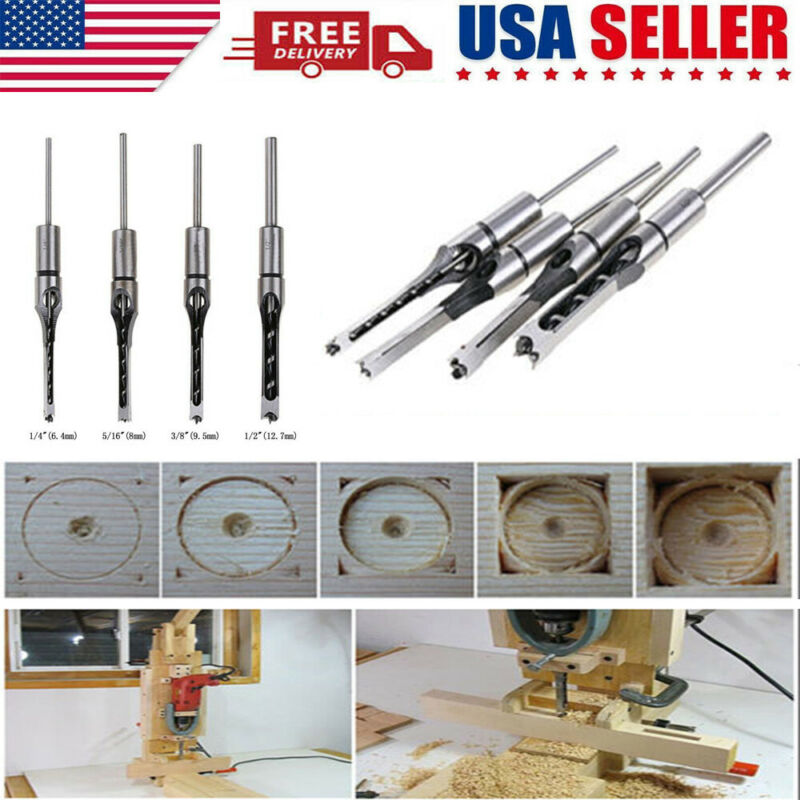 4x Square Hole Saw Auger Mortise Drill Bit Set Mortising Chisel Woodworking Tool
