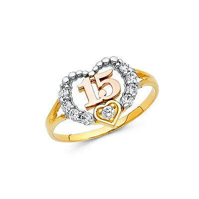 15 Years Anos Quinceanera Tri Color Heart Diamond 14k Solid Yellow Gold Ring