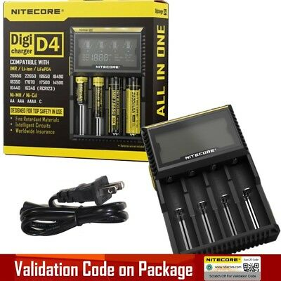 New VERSION NITECORE D4 Digi charger For 18650 14500 18350 16340 Li-ion & Ni-MH