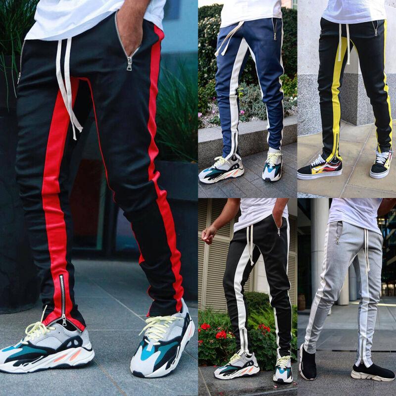 ❤️mens Slim Fit Sport Gym Joggers Bottoms Jogging Skinny Tracksuit Pant Trousers