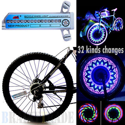 32 LED Patterns Cycling Bikes Bicycles Rainbow Wheel Signal Tire Spoke Light