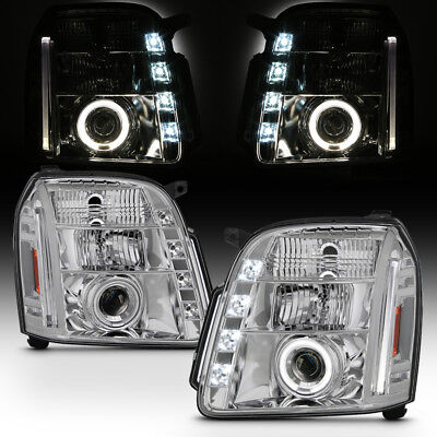 2007-2013 GMC Yukon Denali LED Running DRL Halo Projector Headlights Headlamps