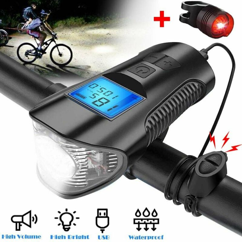 USB Rechargeable LED Bicycle Headlight Bike Front Rear Light w/ Horn Speedometer