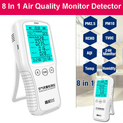 8In1 Air Quality Monitor Detector PM2.5 TVOC Formaldehyde HCHO Temperature Meter