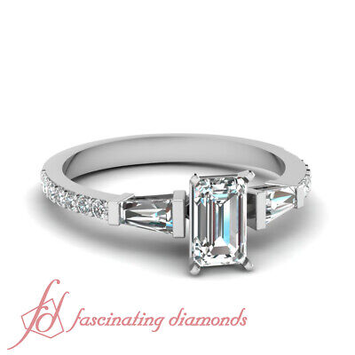 Pave Set 1.15 Ct Emerald Cut Conflict Free Diamond Engagement Ring GIA Certified
