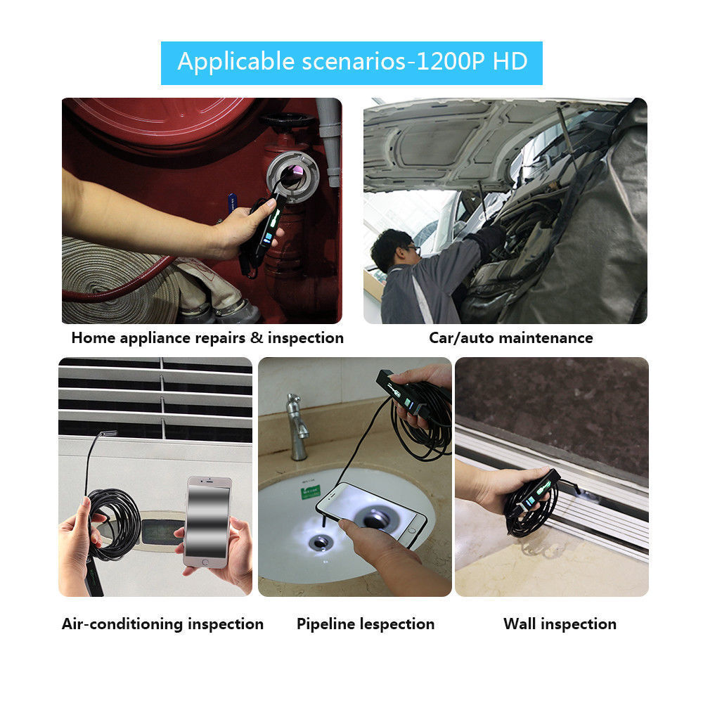 5M 8LED WiFi Borescope Endoscope Snake Inspection Camera for iPhone Android iOS Consumer Electronics