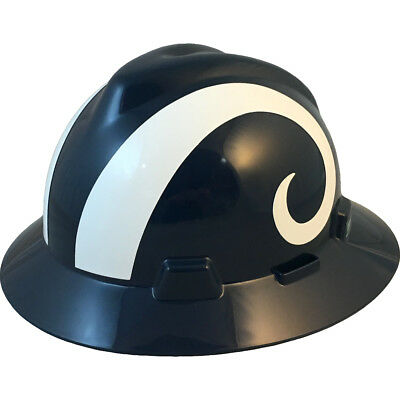 "MSA V-Gard FULL BRIM LOS ANGELES ""RAMS"" NFL Hard Hat Type 3 RATCHET Suspension"