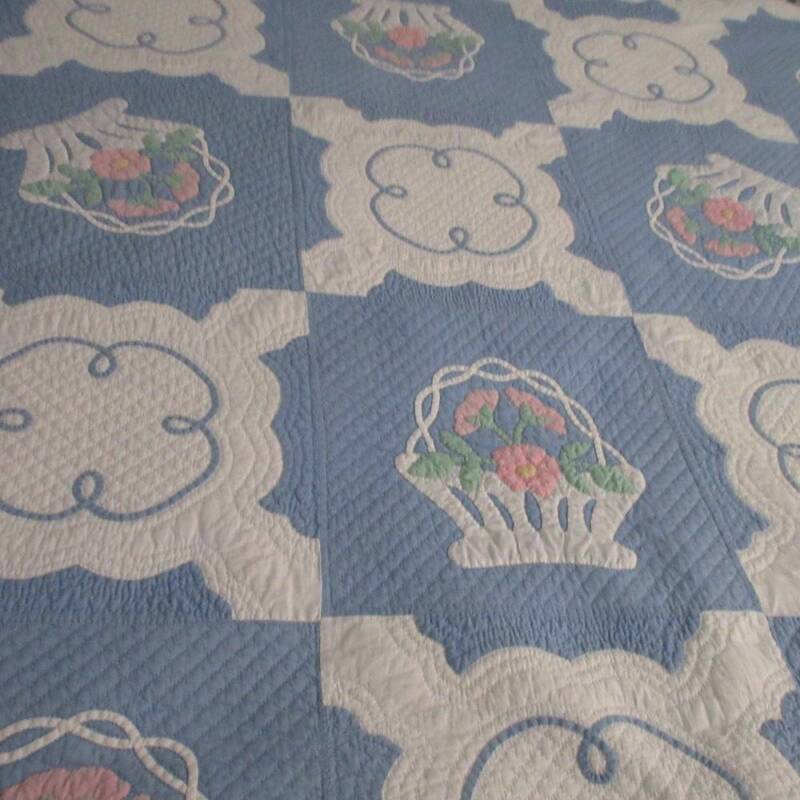 """Stunning! Marie Websters """"French Baskets"""" Antique c1930s Applique QUILT"""