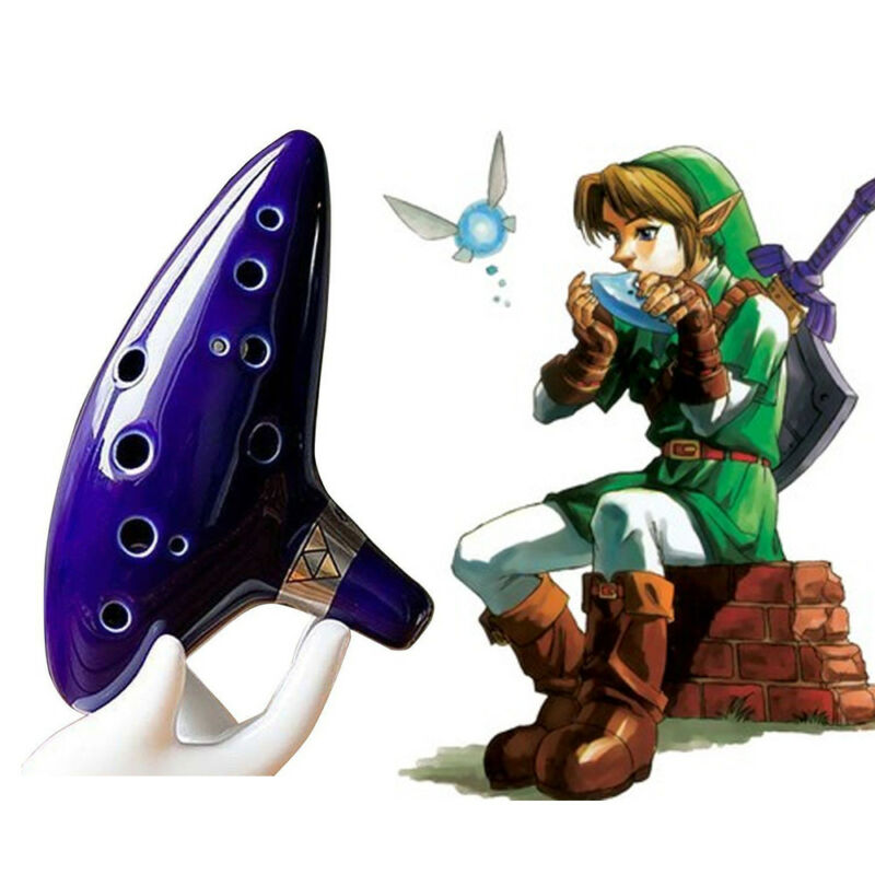 The Legend Zelda Flöte Ocarina Okarina of Time 12 Löcher Loch Ceramic Alto Blau