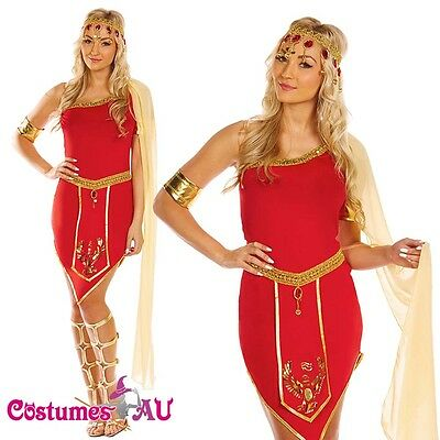 Ladies Cleopatra Roman Toga Robe Greek Goddess Fancy Dress Costume Red Outfits