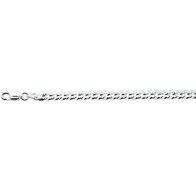 Silver Pave Curb Chain - 100-5MM Flat Pave Curb Chain .925 Solid Sterling Silver Available in 8