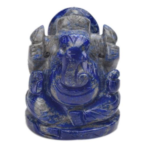 1170.00 Ct Natural Lapis Lazuli Gemstone Ganesha Statue Amulet Miniature V-7855