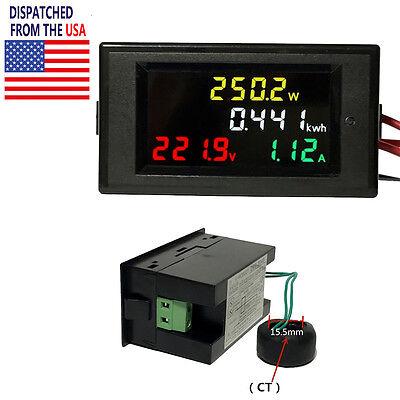 Ac 80-300v 100a Active Power Digital Volt Amp Kwh Voltmeter Ammer Panel Meter Us