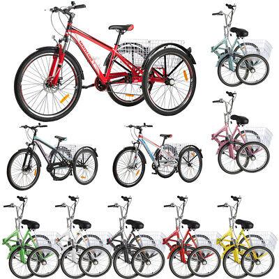 20'' Folding/24''/26''/Mountain Bike 7 Speed 3-Wheel Tricycle Trike Bike Gift US Wheel Trike Bike