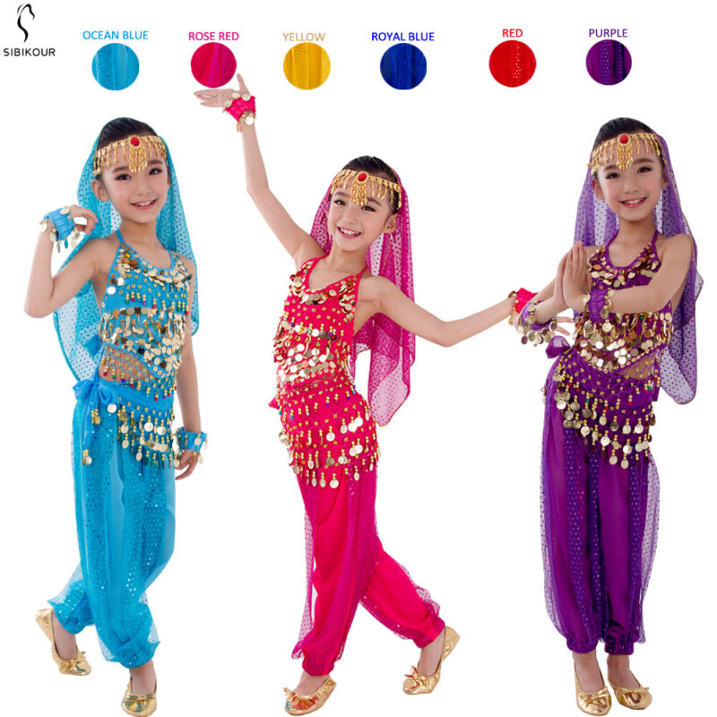 Kids Belly Dance Costume Set Oriental Indian Egypt Egyptian Dress Suit For Girls