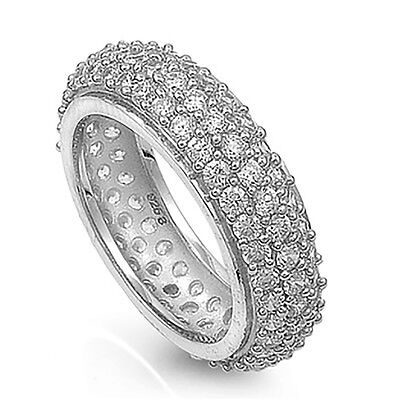 Sterling Silver .925 Fashion Cz Pave Women's Eternity Wed...