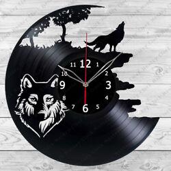 Vinyl Clock Wolf Vinyl Record Wall Clock Home Decor Handmade 250
