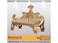 NEW Pacific Chaise Longue French Sofa - Gold & Ivory - Luxury Asian French Gothic Antique Furniture