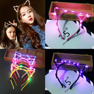 LED Headband Cat Ear Glowing Dark Hair Clip Headwear For Party Decor Xmas Gift (Xmas Headbands)