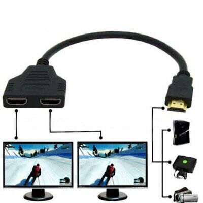 HDMI Port Male to Female 1 Input 2 Output Splitter Cable Adapter Converter 1080P Consumer Electronics