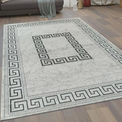 Grey Rug Versace Style Border Shimmer Pattern Small X Large Bedroom Runner Mat