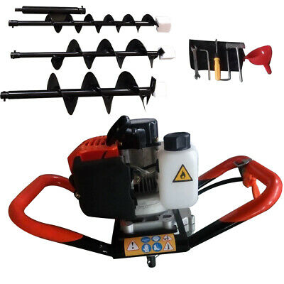 52cc Gas Post Earth Post Hole Auger Digger 2.3hp Powerhead W Auger Bit 4 6 8